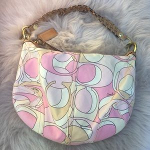 Coach hobo purse pink and taupe cream logo